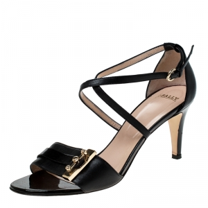 Bally Black Leather Open Toe Ankle Strap Sandals Size 38 - used