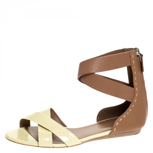 Bally Cream/Brown Patent Leather And Leather Cross Strap Flat Sandals Size 39 - used