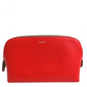 Bally Red Leather Cosmetic Pouch