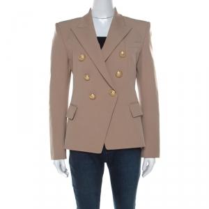 Balmain Beige Cotton Blend Twill Gold Button Detail Double Breasted Blazer M