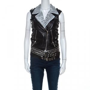 Balmain Black Leather Painted Collar & Studded Detail Gilet S