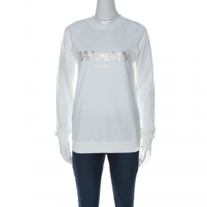 Balmain Off White Cotton Gold Logo Detail Sweatshirt M