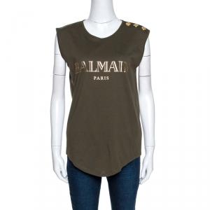 Balmain Khaki Green Logo Print Cotton Sleeveless T-Shirt M