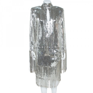 Balmain Silver Sequined Fringed Scarf Dress M
