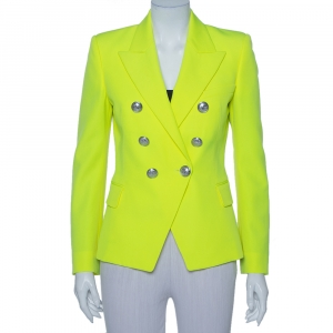 Balmain Neon Yellow Wool Double Breasted Button Front Blazer M