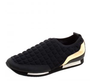 Balmain Black Quilted Neoprene and Gold Metallic Leather Maya Slip On Sneakers Size 40