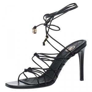 Balmain Black Leather Mikki Strappy Ankle Wrap Sandals Size 38