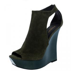 Balmain Green Suede Amaya Cutout Platform Sandals Size 40