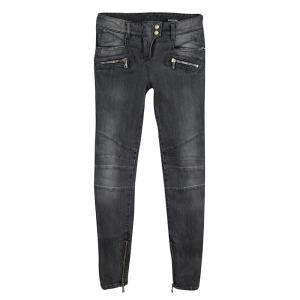 Balmain Grey Faded Effect Denim Logo Button Detail Distressed Jeans S