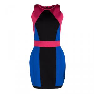 Balmain Abstract Colorblock Sleeveless Bodycon Dress L