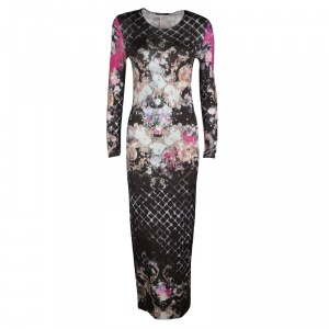 Balmain Multicolor Floral Printed Jersey Long Sleeve Maxi Dress M