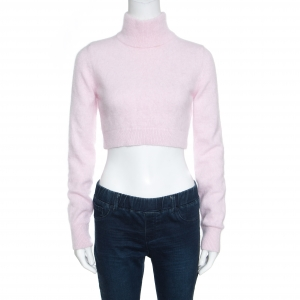 Balmain Pale Pink Wool Cropped High Neck Sweater S - used