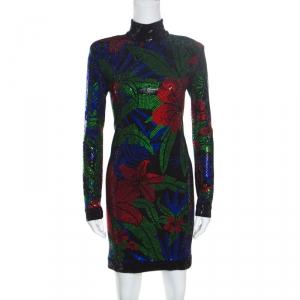 Balmain Multicolored Hot Tropical Crystal Embellished Sheath Dress M