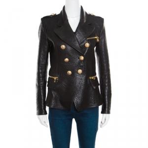 Balmain Black Embossed Crocodile Effect Lamb Leather Jacket M