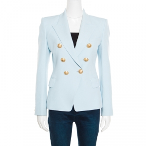 Balmain Powder Blue Double Breasted Fitted Blazer S