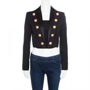 Balmain Black Wool Front Open Cropped Blazer S