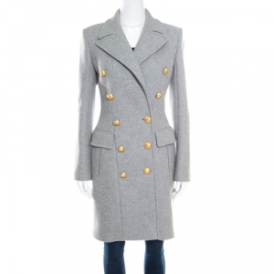 Balmain Grey Wool and Cashmere Gold Button Detail Double Breasted Overcoat S
