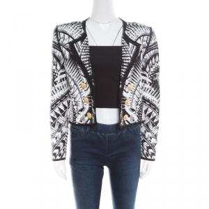 Balmain Monochrome Folkloric Patterned Jacquard Open Front Cropped Blazer L