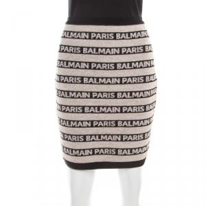Balmain Beige and Black Jacquard Logo Knit Striped Bodycon Skirt M