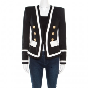 Balmain Monochrome Button Detail Tailored Blazer M