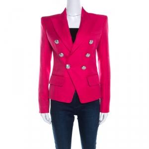 Balmain Hot Pink Basketweave Textured Double Breasted Blazer S