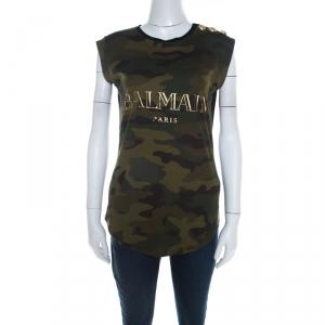 Balmain Khaki Green Camouflage Print Cotton Sleeveless Top M