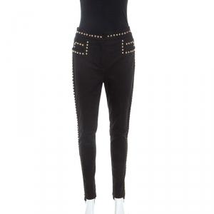 Balmain Black Cotton Denim Studded Stirrup Jeans M