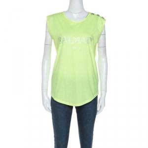 Balmain Neon Yellow Logo Print Cotton Sleeveless T-Shirt M