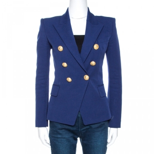 Balmain Blue Cotton Blend Double Breasted Tailored Blazer S