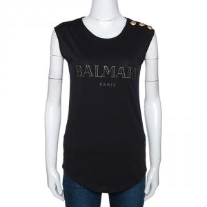 Balmain Black Cotton Shoulder Logo Button Detail Sleeveless T-Shirt S