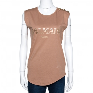 Balmain Beige Logo Printed Cotton Button Embellished Sleeveless T-Shirt S