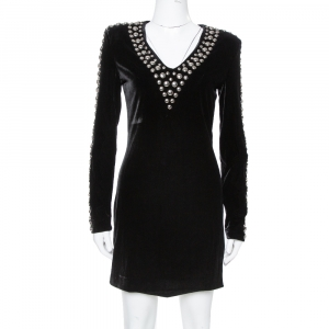 Balmain Black Velvet Studded Mini Dress M