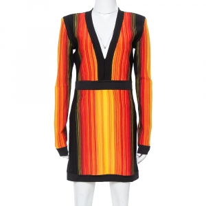 Balmain Multicolor Striped Knit Long Sleeve Mini Dress L