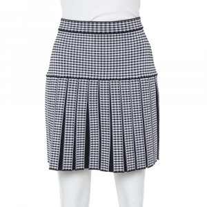 Balmain Monochrome Gingham Knit Pleated Structured Skirt S