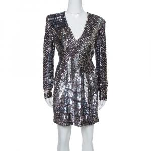 Balmain Silver Sequin & Stud Embellished Mini Dress M
