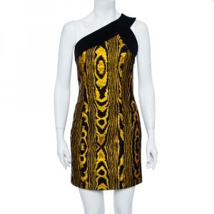 Balmain Black & Gold Jacquard Stripe One Shoulder Mini Dress M - used