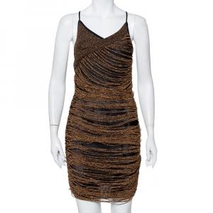 Balmain Gold Mesh Fringe Detail Sleeveless Mini Dress M - used