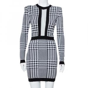 Balmain Monochrome Houndstooth Pattern Knit Mini Dress M
