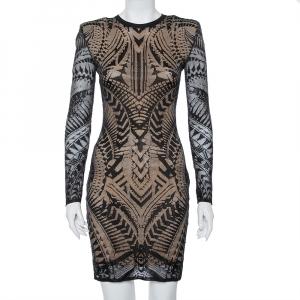 Balmain Black Lace Long Sleeve Sheath Dress M