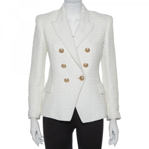 Balmain Off White Tweed Double Breasted Blazer L