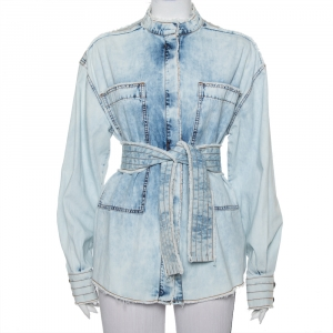 Balmain Blue Washed Out Effect Denim Frayed Detail Belted Lightweight Jacket M