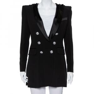 Balmain Black Crepe Double Breasted Hooded Mini Dress M