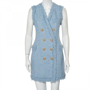 Balmain Powder Blue Tweed Double Breasted Sleeveless Mini Dress M