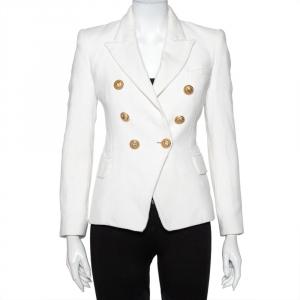 Balmain White Tweed Double Breasted Blazer S