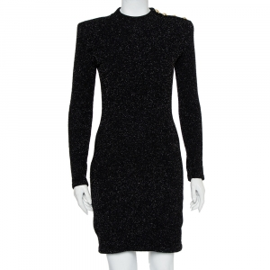 Balmain Black Lurex Knit Shoulder Button Detail Mini Dress M