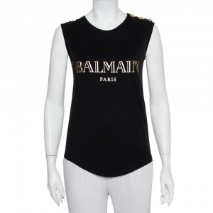Balmain Black Logo Printed Cotton Shoulder Button Detail Sleeveless T-Shirt S