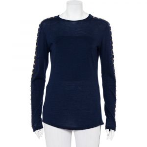 Balmain Navy Blue Wool Studded Detail Sweater L - used