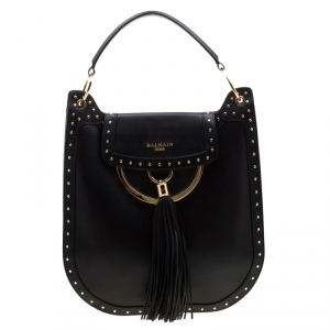 Balmain Black Studded Leather Domaine 33 Shoulder Bag