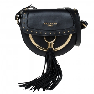 Balmain Black Leather Domaine 18 Shoulder Bag