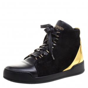Balmain Gold Metallic Leather And Black Suede High Top Sneakers Size 37